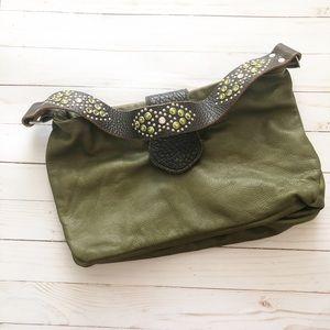 Tylie Malibu Green Leather Rhinestone Purse